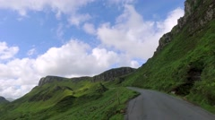 Driving to the top of Quiraing mountain in Scotland Stock Footage