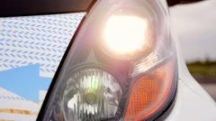 Car flasing light outside vehicle red white lights Stock Footage