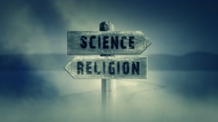 Old Wooden Sign on a Middle of a Cross Road With the Words Science or Religion Stock Footage