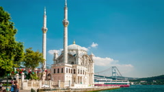 Istanbul. Ortakoy mosque on Bosphorus coast. Camera vertical pan Stock Footage