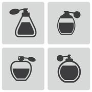 Vector black perfume icons set Stock Illustration