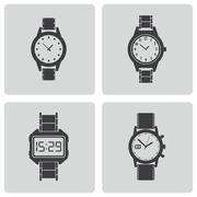 Vector black wristwatch icons set - stock illustration