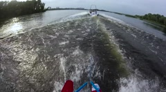 Water skiing first person view Stock Footage