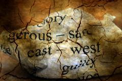 East- west grunge concept - stock illustration