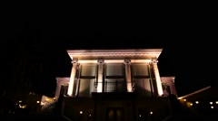Big house with column lighting at the night - stock footage