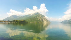 Picturesque panoramic view of Lake Como and Lecco city, Italy Stock Footage