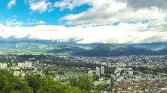 Panoramic aerial view of Grenoble city, France - stock footage