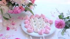 White buffet table with sweets Stock Footage