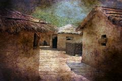 Straw house grunge concept - stock illustration