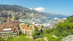 Panoramic view of Monte Carlo city, Cote d'Azur, Monaco - stock footage