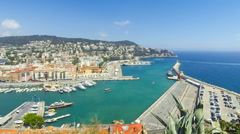 Aerial View on Port of Nice, French Riviera, France Stock Footage