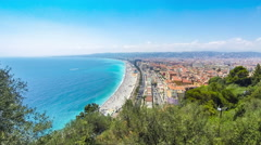 Panoramic aerial view of beach in City of Nice, French riviera, France Stock Footage