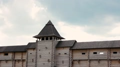 Old wooden fortress and cloudless sky Stock Footage