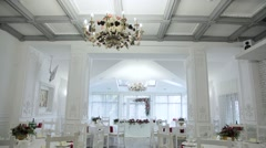 White festive banquete hall overview - stock footage