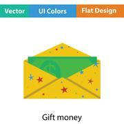 Birthday gift envelop icon with money Stock Illustration