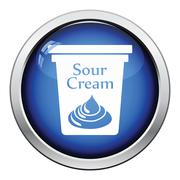 Sour cream icon - stock illustration