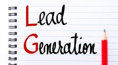 LG Lead Generation written on notebook page - stock photo