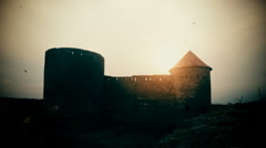 Silhouette of a ruin of dark castle with flying black birds timelapse  - stock footage
