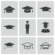 Vector black academic cap icons set - stock illustration