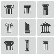 Vector black column icons set - stock illustration