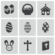 Vector black easter icons set Stock Illustration