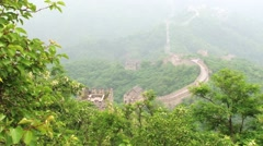 View to the Great Wall from the hill in Mutianyu, China. Stock Footage