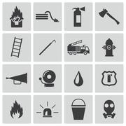 Vector black  firefighter icons set - stock illustration