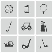 Vector black golf icons set Piirros