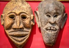 Scary masks on sale in Kathmandu Nepal - stock photo