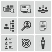 Vector black job search icons set - stock illustration