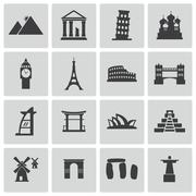 Vector black landmark icons set - stock illustration