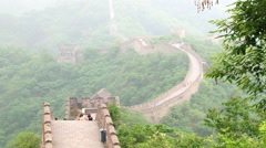 Tourists visit Great Wall in Mutianyu, China. Stock Footage