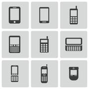 Vector black mobile phone icons set Piirros