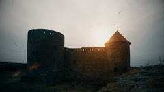 Silhouette of a ruin of dark castle with flying black birds timelapse  Stock Footage