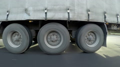 Delivery Truck Drive Fast on Highway, side view Stock Footage