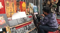 Man performs tile artwork in Mutianyu, China. Stock Footage