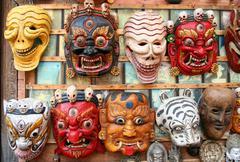 Colourful masks on sale in Kathmandu Nepal Stock Photos
