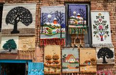 Woven artwork for sale in a souvenir stall in Kathmandu, Nepal Stock Photos