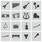 Vector black music instruments icons set - stock illustration