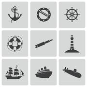 Vector black nautical icons set - stock illustration