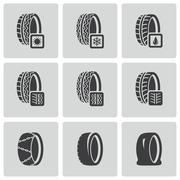 Vector black tire icon set Stock Illustration