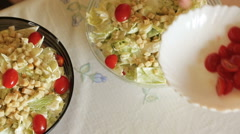 Caesar salads at home Stock Footage