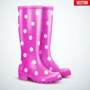 Pair of violet rain boots - stock illustration