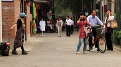 People make travel photo at the shopping area in Beijing, China. Stock Footage
