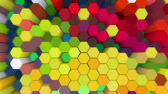 Hexagonal prism of changing colors with percussive movement - stock footage