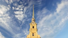 Time Lapse Peter and Paul Cathedral spire against quickly run white clouds Stock Footage