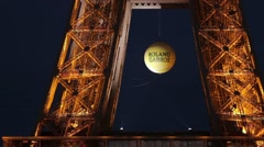 FRANCE, PARIS: Part of Eiffel Tower in the night, Roland Garros Stock Footage