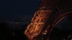 FRANCE, PARIS: Eiffel Tower in the night time, Roland Garros, horizontal pan Stock Footage