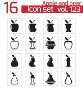 Vector black apple and pear icons set Stock Illustration