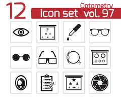 Vector black  optometry  icons set Stock Illustration